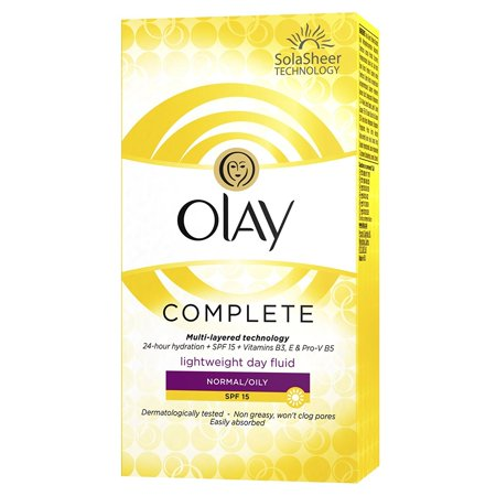 Olay Complete Lightweight Day Fluid, for Normal/Oily Skin, SPF 15, 100 ml (3.4 Oz)