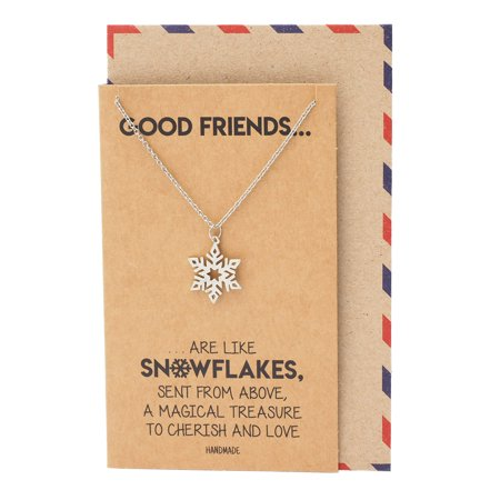 Quan Jewelry Snowflake Pendant Necklace, Best Friend Gifts for Christmas, Silver