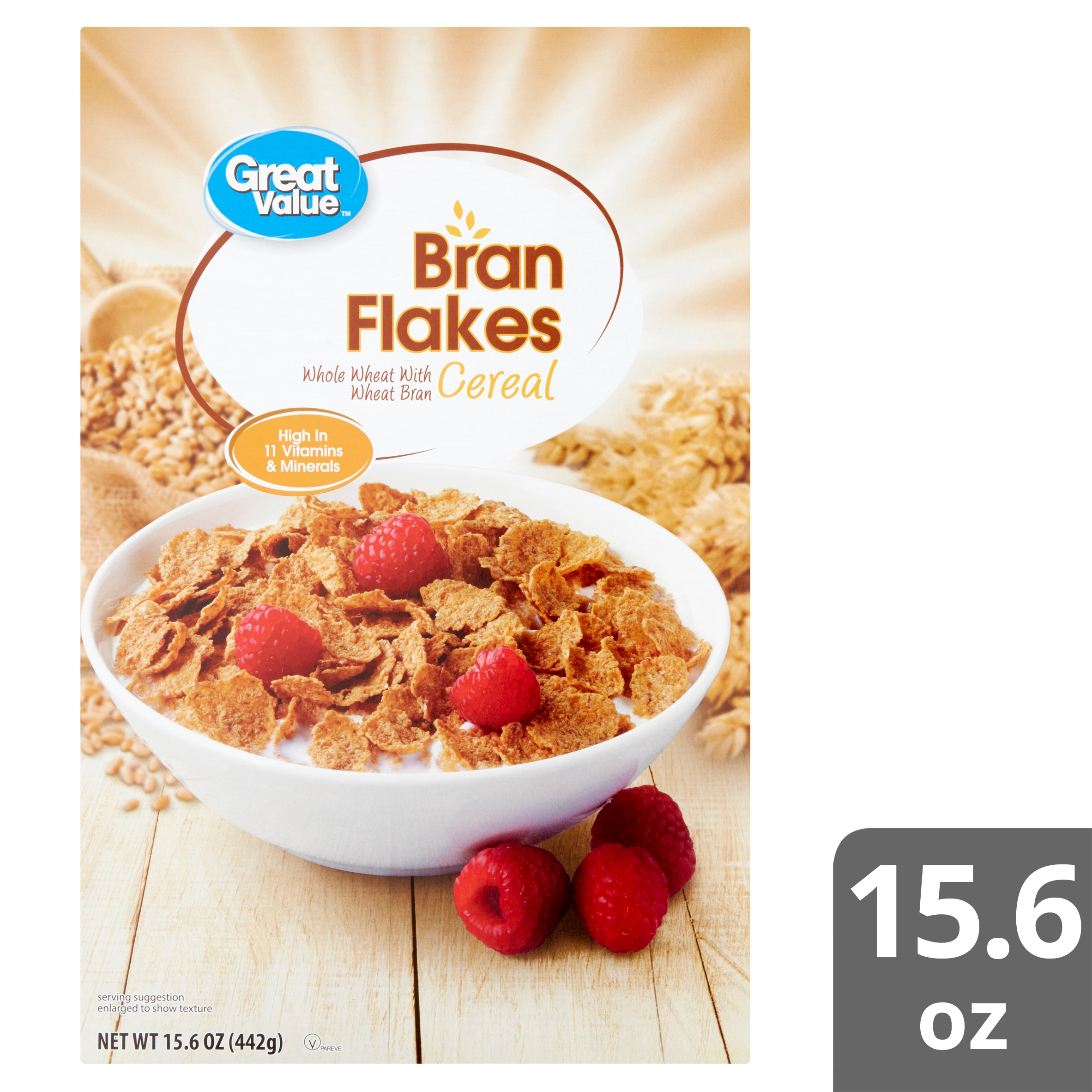 great value bran flakes cereal 15 6 oz walmart com
