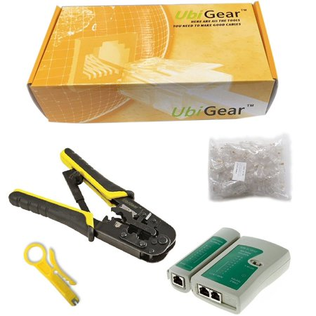 100 Connectors - UbiGear Cable Tester + Crimp Crimper +100 RJ45 CAT5 CAT5e Connector Plug Network Tool Kits