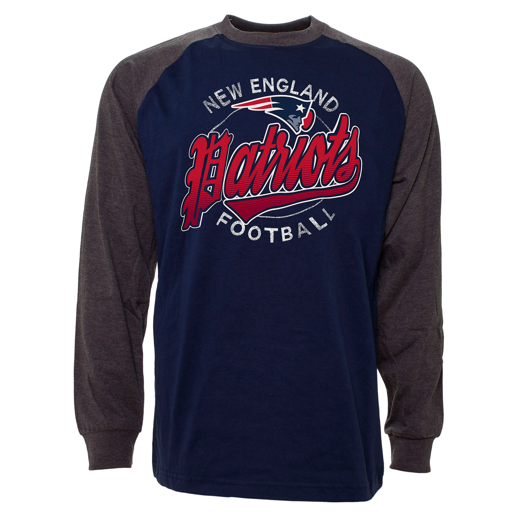 NFL New England Patriots T Shirt Mens ALL SIZES Raglan Long Sleeve Jersey
