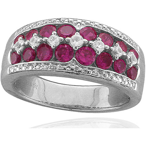 1.79 T.G.W. Created Ruby and White Sapphire Sterling Silver Ring by Fabrikant
