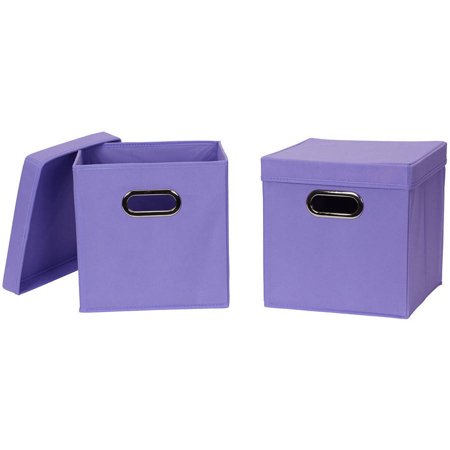 household essentials collapsible fabric storage cube with lid 2 pack. Black Bedroom Furniture Sets. Home Design Ideas