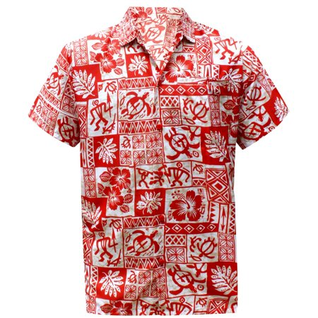 Hawaiian Shirt Mens Beach Aloha Camp Party Holiday Button Down Pocket Hibiscus Floral Print S (La Lights Shoes)