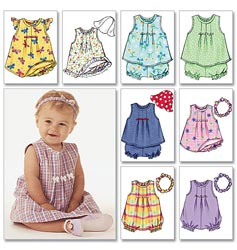 Butterick Pattern Infants' Dress, Top, Romper, Panties, Hat and Headband, NB0 (NB, S, M)