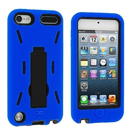 Hybrid Armor Case Cover with Kickstand for Apple iPod Touch 5th Gen iPod Touch 6th Gen - Blue/Black ()