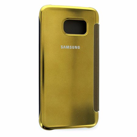 Samsung S-View Flip Cover Case for Samsung Galaxy S6 Edge Clear Gold