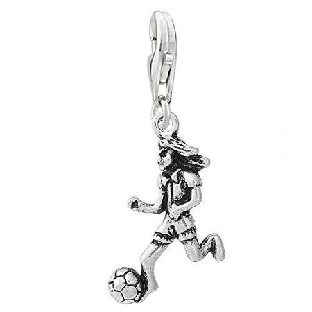 Football Soccer Player Clip on Pendant Charm for Bracelet or Necklace](Football Charms)