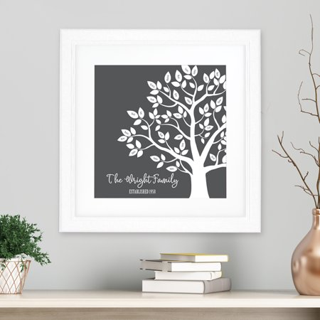 100 Square Print - Personalized Our Family Tree Square Framed Print