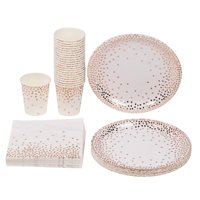 Serves 24 Rose Gold Party Supplies, 72PCS Plates Napkins Cups, Polka Dots Favors Decorations Disposable Paper Tableware Kit Set for Girls Women Adults Birthday Wedding Bridal Shower Baby Shower