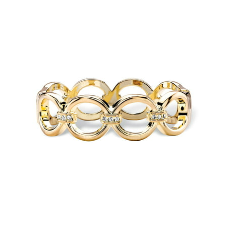 Crystal Gold Bangle Bracelet (Round White Crystal Circle Link Hinged Closure Bangle Bracelet in Gold Tone)