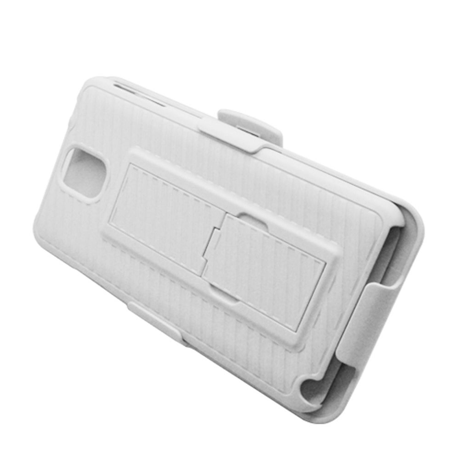 Samsung Galaxy Note 3 Case, by Insten Rubberized Hard Snap-in Holster Stand Case Cover For Samsung Galaxy Note 3 - White