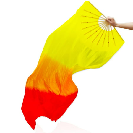 Dancing Silk Fan Color Gradient Flame Belly Tool for Party Stage Performance (Silk Fans)