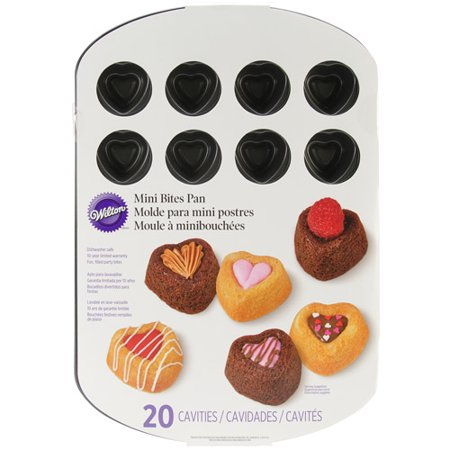 Wilton 2105-2588 Bite Sized 20-Cavity Heart Dessert Shell - Bite Sized Desserts