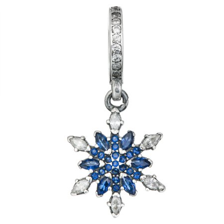 Sterling Silver Christmas Snowflake Blue Cubic Zirconia Dangle Bead Charm Fits (10 Snowflake Charms)
