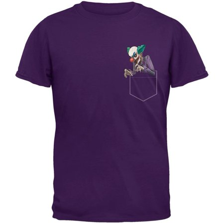 Pocket Halloween Horror Scary Clown Purple Adult T-Shirt