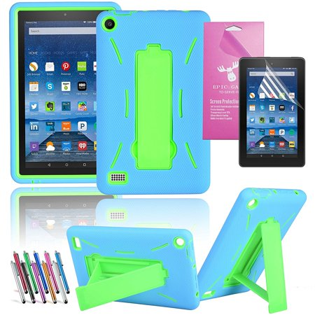 Amazon Fire 7   2015 Case  Epicgadget Tm  5Th Generation Fire 7 Heavy Duty Hybrid Case Full Protection Cover With Kickstand For Fire 7 Inch Display   Screen Protector   1 Stylus  Blue Green