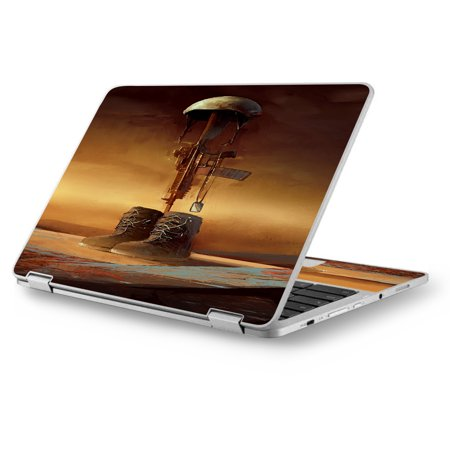 "Skin Decal for Asus Chromebook 12.5"" Flip C302CA Laptop Vinyl Wrap / Fallen Soldier Remember Boots Rifle"