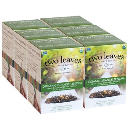 Two Leaves and a Bud, Inc., Organic Orange Sencha Green Tea, 15 Count