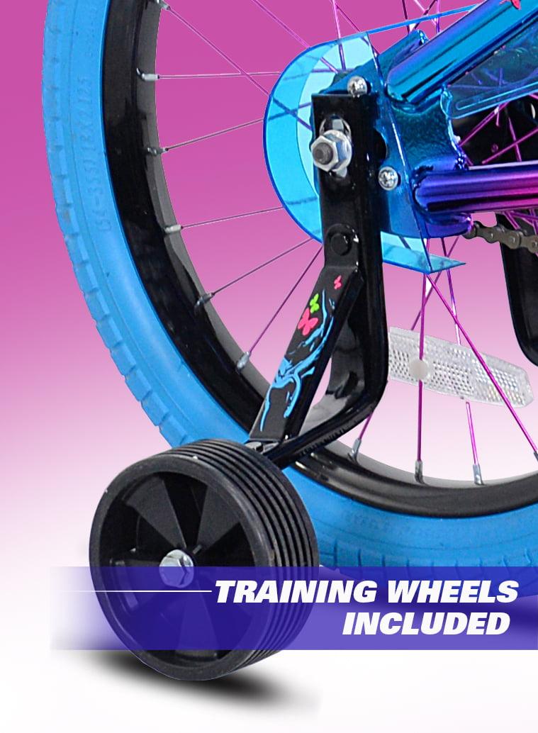 Girls Illusion Bicycle Blue//Purple With Training Wheels Bag Kids Bike BMX 18 in