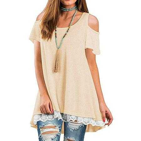 Women's Cold Shoulder Short Sleeve Lace Hem Tunic Scoop Neck A-Line Tunic Blouse Tops