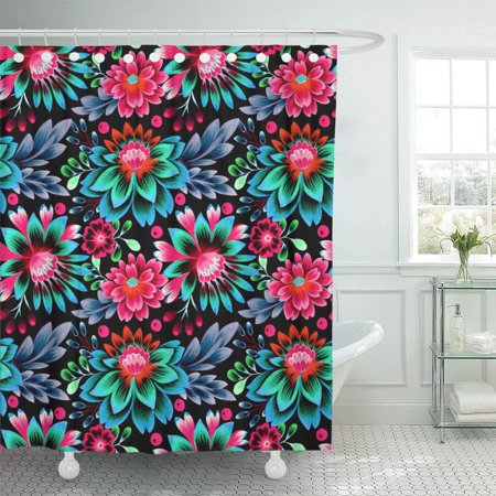 Dense Floral Pattern - KSADK Folk Flowers Glowing Amazing on Black Floral Pattern Dense Composition Shower Curtain Bathroom Curtain 66x72 inch
