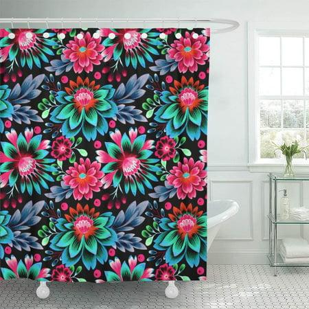 KSADK Folk Flowers Glowing Amazing on Black Floral Pattern Dense Composition Shower Curtain Bathroom Curtain 66x72 inch