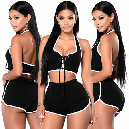 New Fashion Women;acute;s Skinny Sexy String Closure Halter Tops Sports Short Jumpsuit Two Piece Outfits