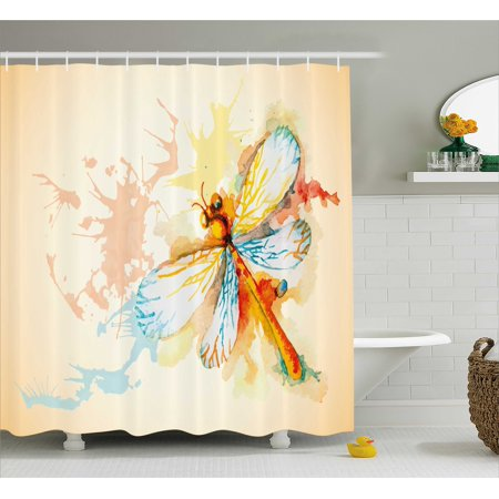 Dragonfly Shower Curtain Watercolor Moth With Branch Print Wings On Abstract Backdrop Fabric Bathroom