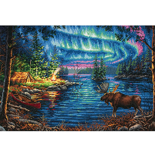 """Gold Collection Northern Night Counted Cross-Stitch Kit, 16"""" x 11"""", 14-Count"""