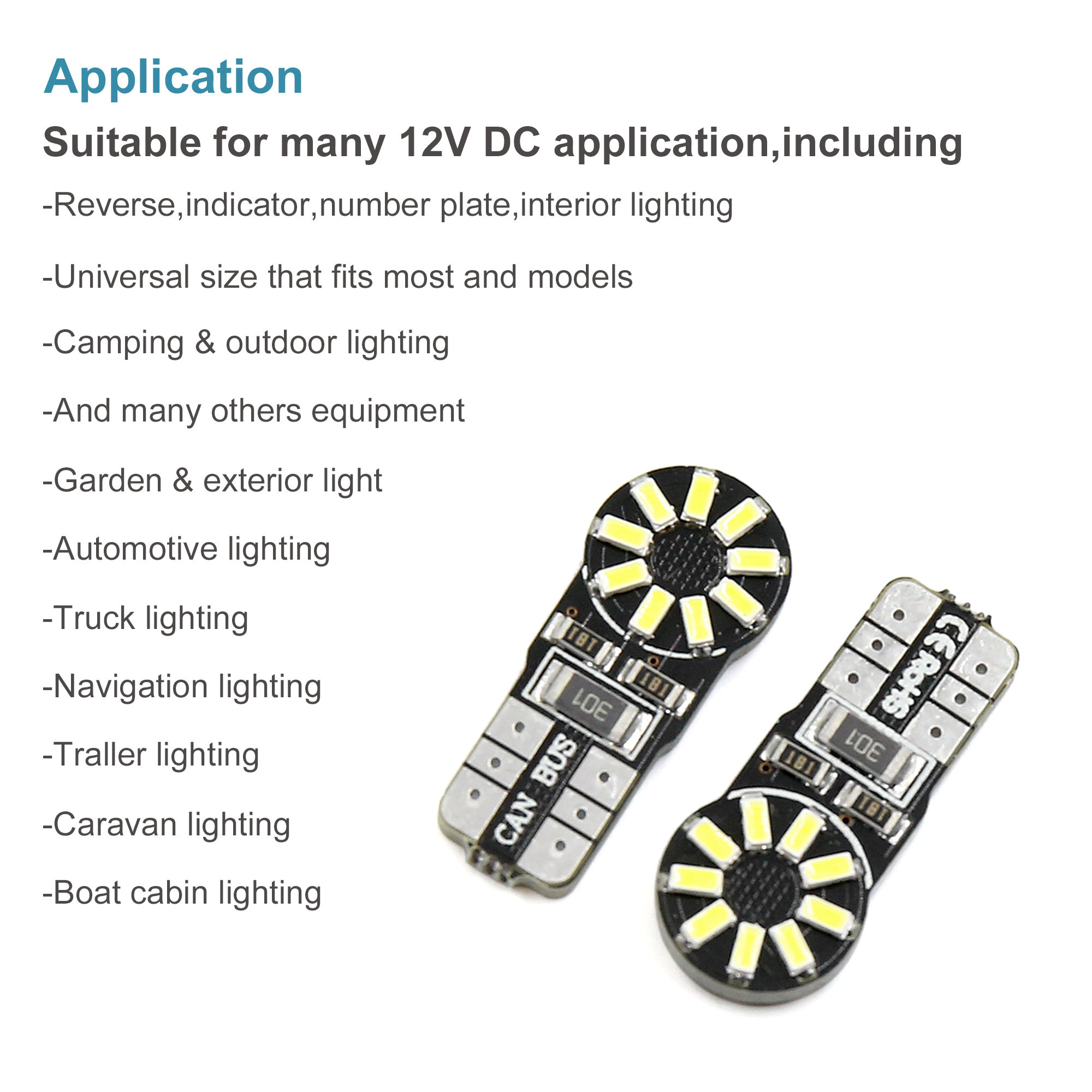 10pcs Error Free Canbus T10 W5W 18SMD LED Car License Plate Side Light Bulbs 194 - image 4 de 8