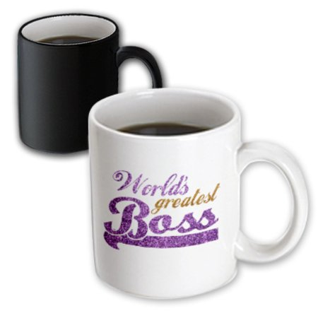 3dRose Worlds Greatest Boss - Best work boss ever - purple and gold text - faux sparkles matte glitter-look, Magic Transforming Mug,