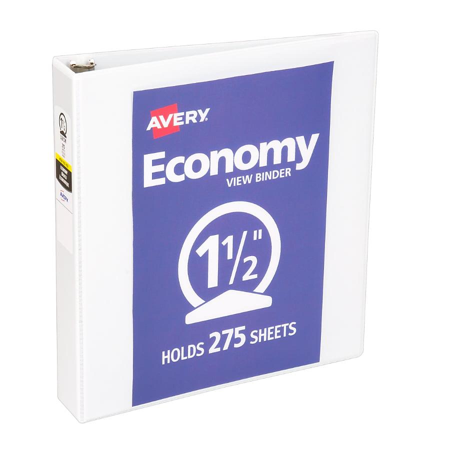 """Avery 1-1/2"""" Economy View Binder, Round Rings, White"""