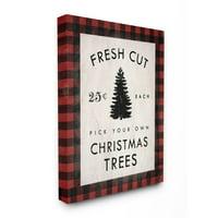 Stupell Industries Fresh Cut Christmas Trees Holiday Red Plaid Word DesignCanvas Wall Art By Artist Daphne Polselli