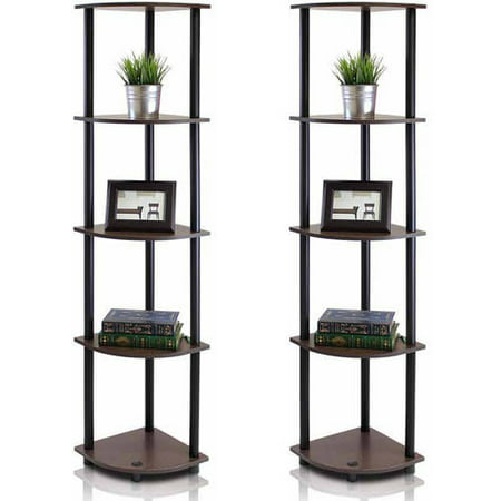 Furinno 99811 Turn-N-Tube 5-Tier Corner Display Rack Multipurpose Shelving Unit, Set of 2, (Mix and Match)