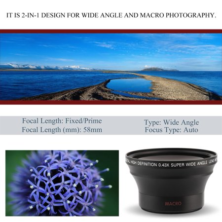 58MM 43x Wide Angle Camera Lens With Macro For Canon For Rebel T6i T5i T3i