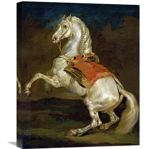 Global Gallery 'Rearing Horse (Cheval Cabre)' by Theodore Gericault Painting Print on Wrapped Canvas