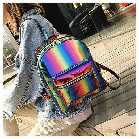 Womens Girl Rainbow School Backpack Shoulder Book Bag Travel Rucksack Satchel Backpack