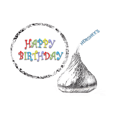 Birthday Party Favors (216 Happy Birthday Birthday Party Favor Hershey's Kisses Stickers / Labels-)