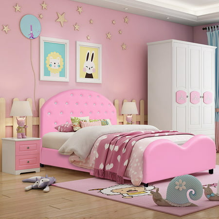 Costway Kids Children PU Upholstered Platform Wooden Princess Bed Bedroom Furniture Pink