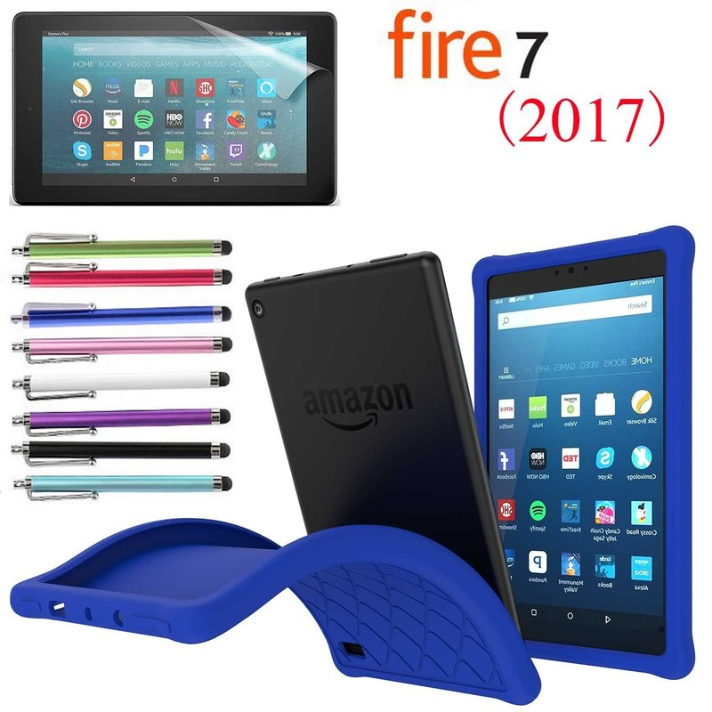 "Amazon Fire 7"" 2017 Case, EpicGadget(TM) 7th Generation Kindle Fire 7 (2017) Soft Silicone Cover Case with Full Protection For Fire 7 inch Display + 1 Screen Protector and 1 Stylus (Blue)"