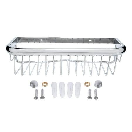 12-inch Length Brass Rectangle Shape Bathroom Shower Caddy Basket Silver Tone Shower Caddy Brass