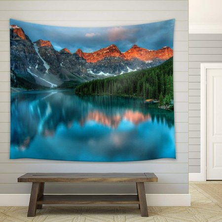wall26 - Reflection of Mountains and Pine Trees on a Crystal Clear Lake - Fabric Tapestry, Home Decor - 68x80 - Best Buy Crystal Lake