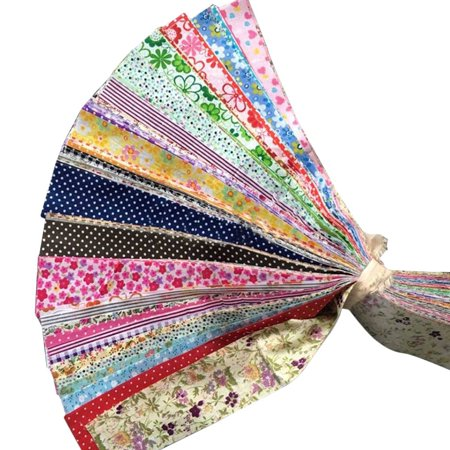 30pcs Flower Dot Stripe Cotton Cloth Diy Sewing Patchwork Quilting Doll Cloth Handmade Needlework Fabric