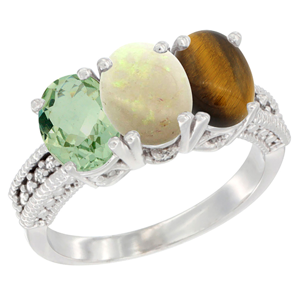 14K White Gold Natural Green Amethyst, Opal & Tiger Eye Ring 3-Stone 7x5 mm Oval Diamond Accent, sizes 5 10 by WorldJewels