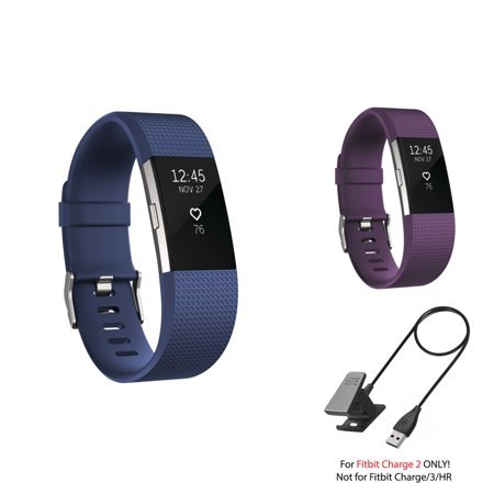 Fitbit Charge 2 Bands and Fitbit Charge 2 Charger by Zodaca 2 pack (Purple & Dark Blue) Replacement Bands Rubber Wristband Fashion Sport Strap with Buckle and USB Charging Cable for Fitbit Charge 2