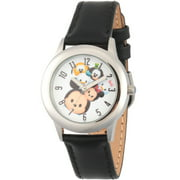 Tsum Tsum Mickey Mouse, Minnie Mouse, Daisy Duck, Goofy, Pluto and Donald Duck Boys' Stainless Steel Time Teacher Watch, Black Leather Strap