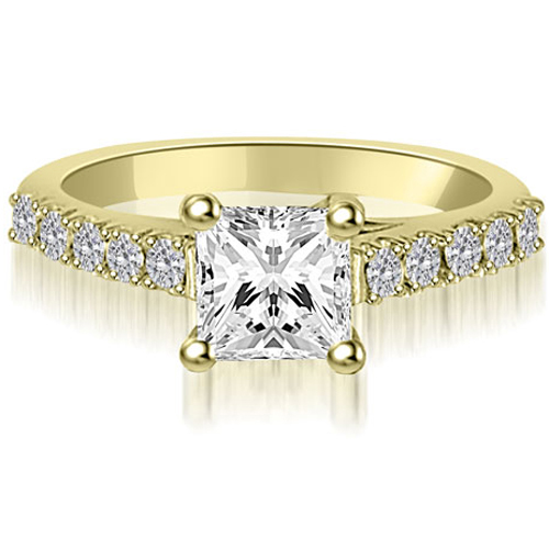 1.25 CT.TW Princess And Round Diamond Engagement Ring in 14K White, Yellow Or Rose Gold