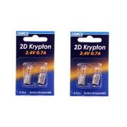 Dorcy 41-1660 2D - 2.4V 0.7A Bayonet Base Krypton Replacement Bulb, 2-Pack (4-Pack)