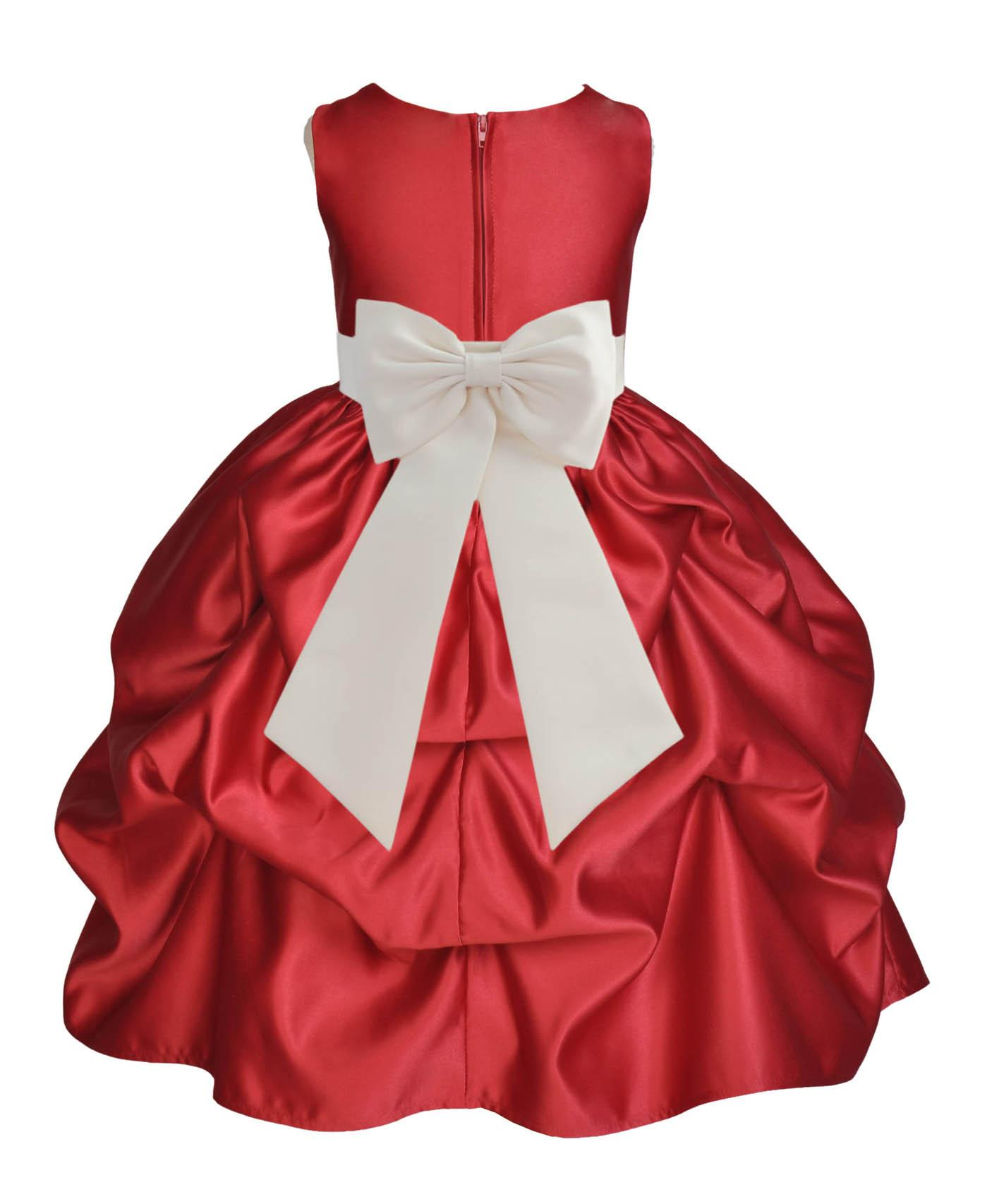 Ekidsbridal Satin Bubble Pick Up Apple Red Flower Girl Dress